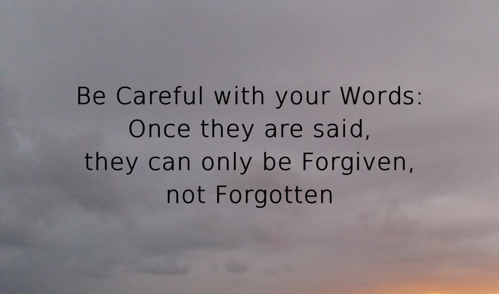 Be Careful with your Words: Once they are said, they can only be Forgiven, not Forgotten